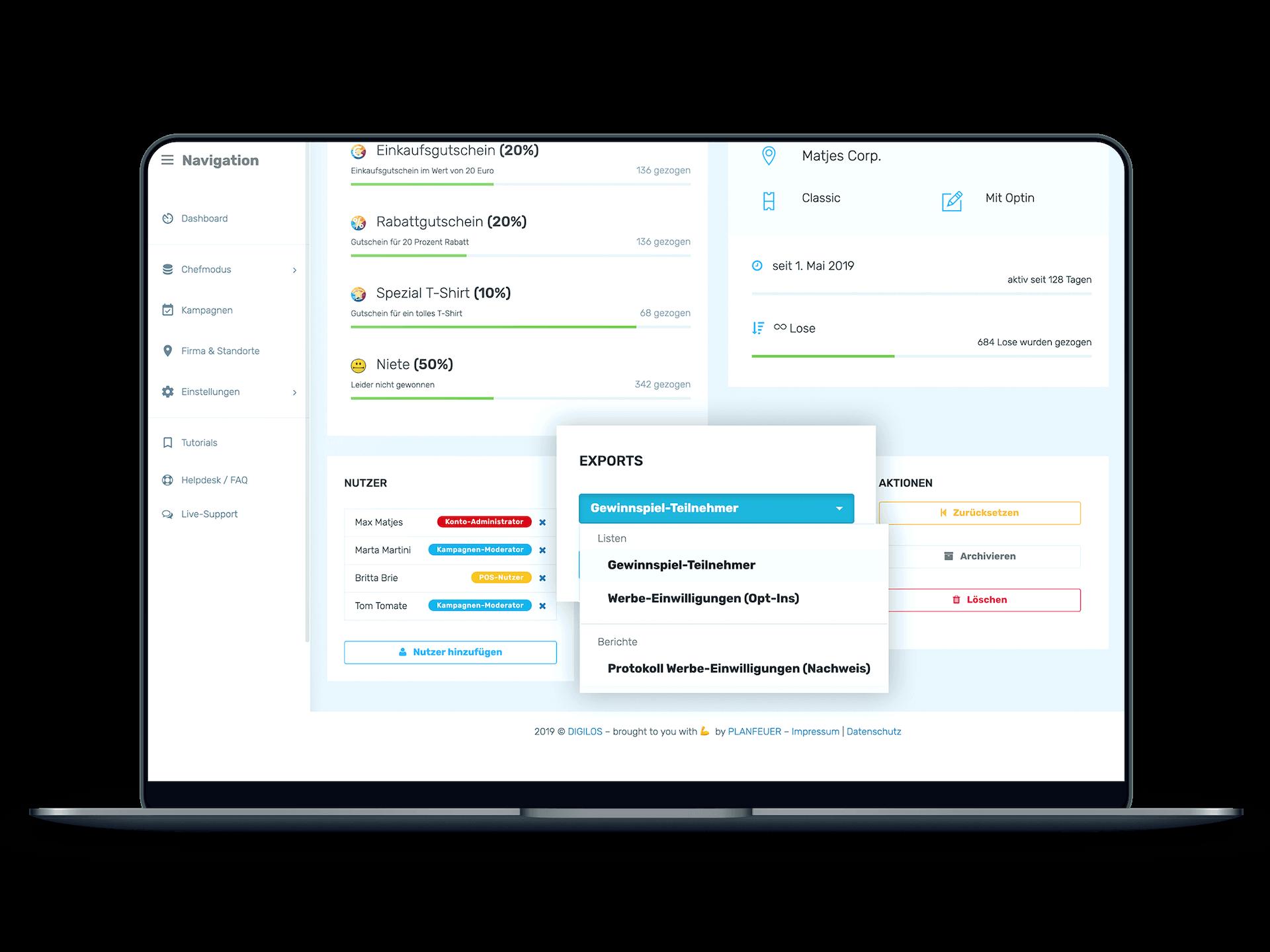 DIGILOS-Cockpit: Daten exportieren